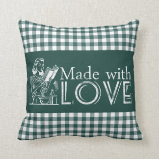 Chalk Retro Kitchen Made With Love Green Gingham Throw Pillow