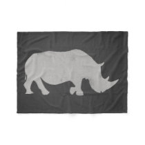 Chalk Rhino Fleece Blanket