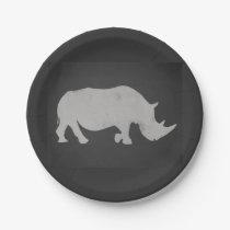 Chalk Rhino Paper Plate