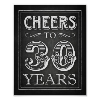Chalk Style CHEERS TO 30 YEARS Sign Print