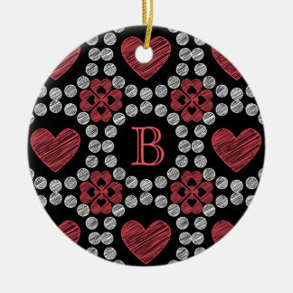 Chalk Style Hearts And Circles With Monogram Ceramic Ornament