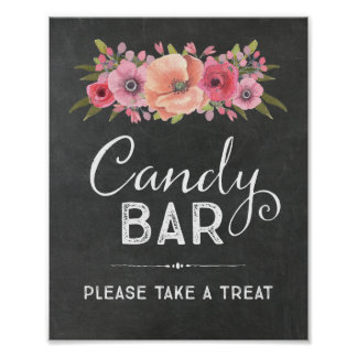 Chalk Watercolor Floral Candy Bar Wedding Sign Poster