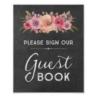 Chalk Watercolor Floral Guest Book Wedding Sign