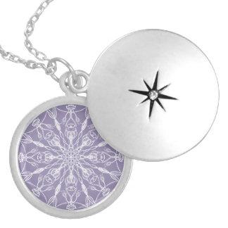 Chalk White Mandala on Lavender Locket Necklace