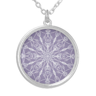 Chalk White Mandala on Lavender Silver Plated Necklace