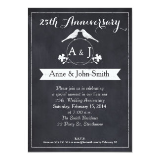 Chalkboard 25th Wedding Anniversary Invitation