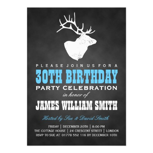 Chalkboard 30th Birthday Party Deer Black Blue Personalized Invitations