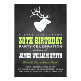 Chalkboard 30th Birthday Party Deer Black Green Card