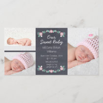 Chalkboard 3 Photo Birth Announcement Photocard