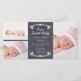 Chalkboard 3 Photo Birth Announcement Photocard