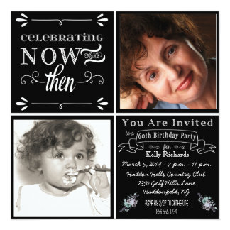 Chalkboard 60th Birthday Square Photo Invitation