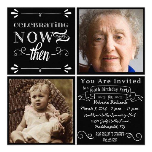 Chalkboard 90th Birthday Square Photo Invitation