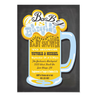 Chalkboard A Baby is Brewing Baby Shower Invites