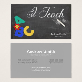 Chalkboard ABCs 'I Teach' Business Card