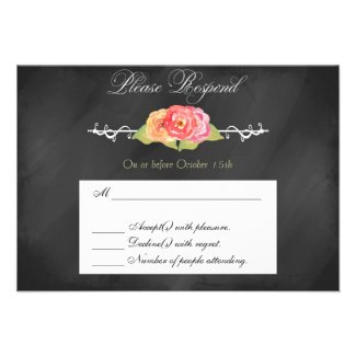 Chalkboard Abstract Flower RSVP Response Card