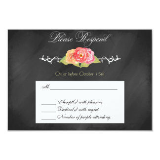 """Chalkboard Abstract Flower RSVP Response Card 3.5"""" X 5"""" Invitation Card"""