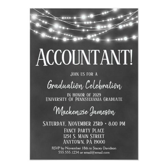 chalkboard accountant graduation party invitation zazzle com
