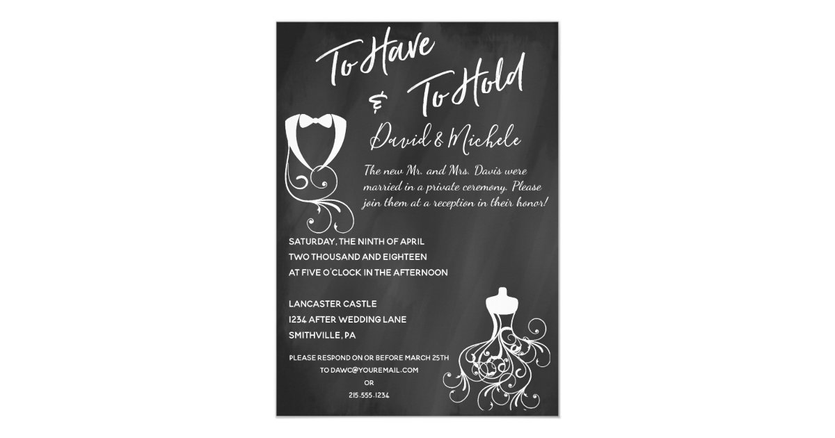 After The Wedding Party Invitations: Chalkboard After/Post Wedding Party Invitation