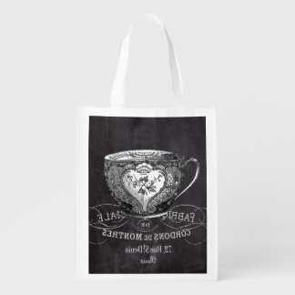 Chalkboard Alice in Wonderland tea party teacup Grocery Bag
