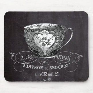 Chalkboard Alice in Wonderland tea party teacup Mouse Pad