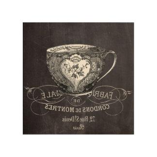 Chalkboard Alice in Wonderland tea party teacup Wood Print