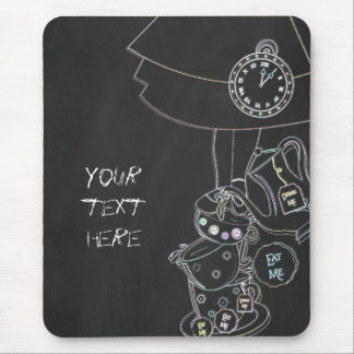 Chalkboard Alice in Wonderland Teacups Chalk Mouse Pad