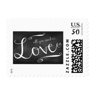 Chalkboard all you need is love postage stamp