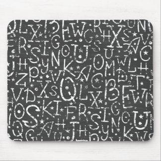 Chalkboard alphabet letters pattern mousepads
