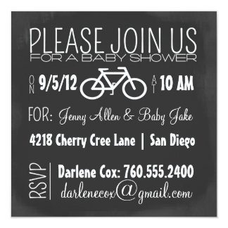 chalkboard and bicycle boy's baby shower invite