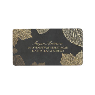 Chalkboard and Gold Leaves Fall Wedding Label