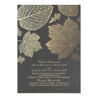 Chalkboard and Gold Leaves Vintage Fall Wedding Card