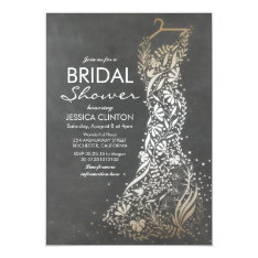 Chalkboard And Gold Vintage Bridal Shower Card at Zazzle
