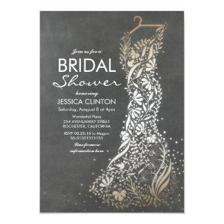 Chalkboard and Gold Vintage Bridal Shower Card