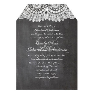 Chalkboard and Lace Elegant Wedding Invitations