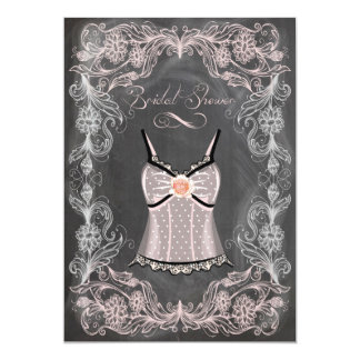 Chalkboard and Lace Vintage Bridal Shower Personalized Invitations
