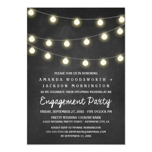 Chalkboard and Lights Engagement Party Invitations