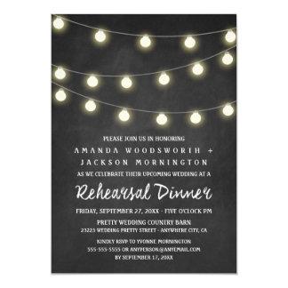 Chalkboard and Lights Rehearsal Dinner Invitations