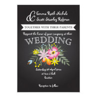 Chalkboard and pink flowers modern floral wedding 5