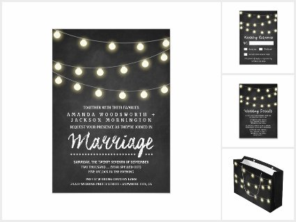 Chalkboard and Rustic Lights Wedding Invitations