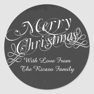 Chalkboard And Scroll Font Merry Christmas Custom Classic Round Sticker