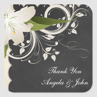 Chalkboard and White Lily Square Sticker