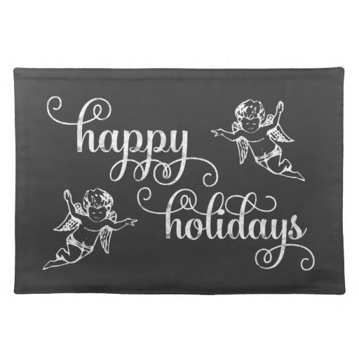 Chalkboard Angels Happy Holidays Swirly Script Placemats