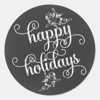 Chalkboard Angels Happy Holidays Swirly Script Classic Round Sticker