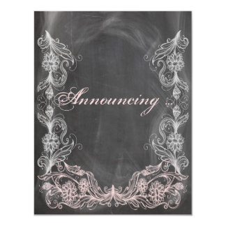 Chalkboard Antique Pink Floral Marriage Announceme Card