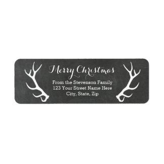 Chalkboard Antlers Vintage Return Address Labels