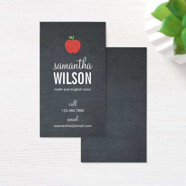 Chalkboard Apple Teacher Business Card Zazzle