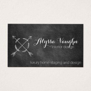 Professional Business Chalkboard Arrow and Wreath Business Card