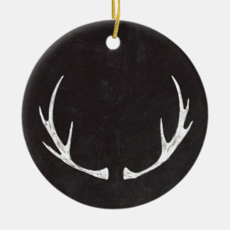 Chalkboard Art - Antlers for the Holidays Ceramic Ornament