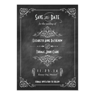 Chalkboard Art Deco Save the Date Cards