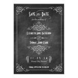 "Chalkboard Art Deco Save the Date 5"" X 7"" Invitation Card"